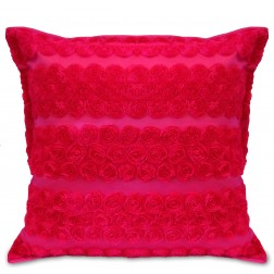 ROSETTE CUSHION COVER - HOT PINK
