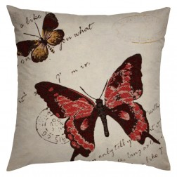 RED BUTTERFLY CUSHION COVER